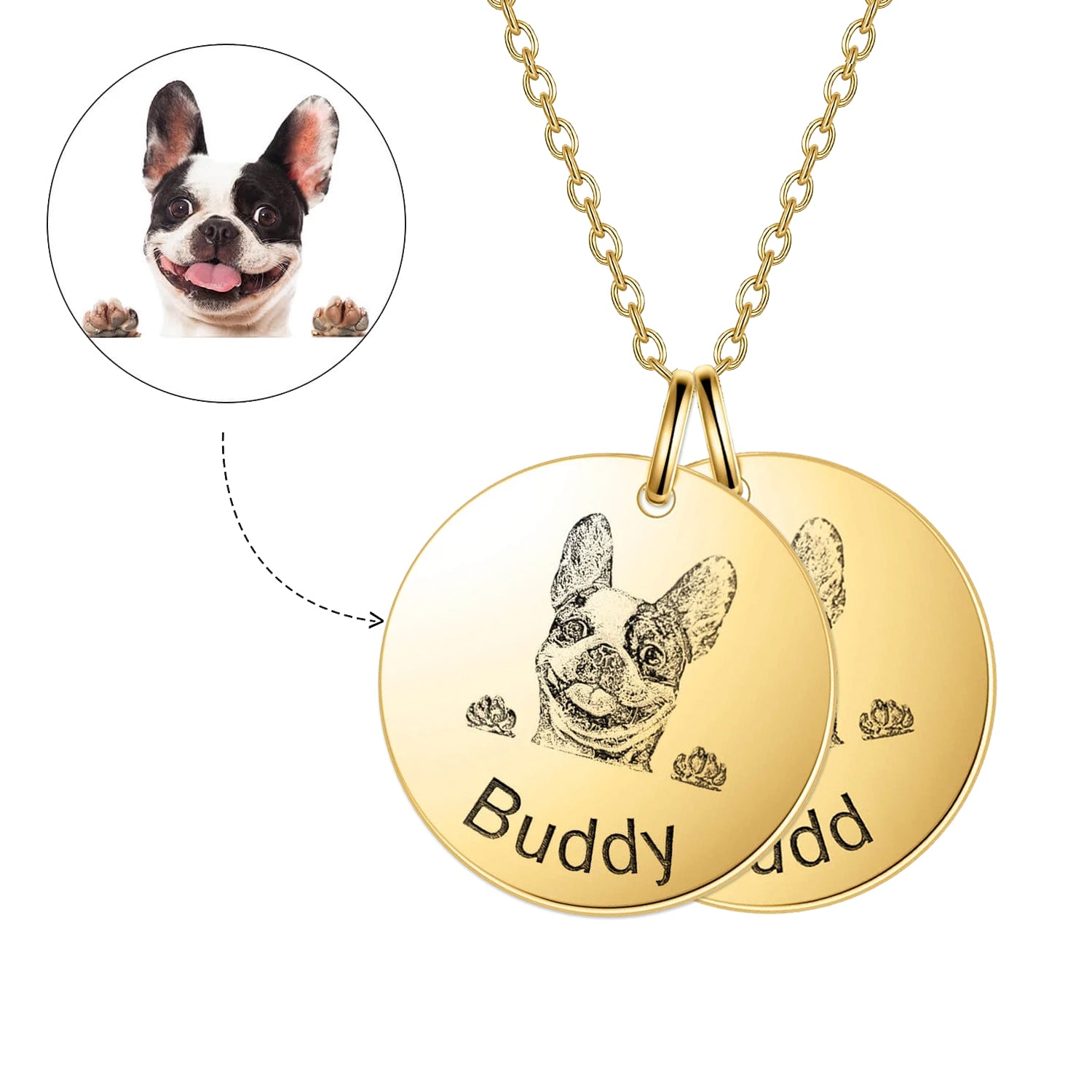 925 Sterling Silver 2 Pet Lithograph  Pet Portrait Pet Paw Print Personalized Necklace Gift For Pet Lovers - onlyone