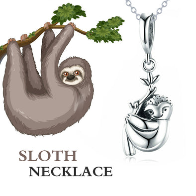 925 Sterling Silver Sloth Pendant Necklace - onlyone