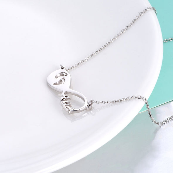 925 Sterling Silver Infinity Footprint Name Necklace Nameplate Necklace - onlyone