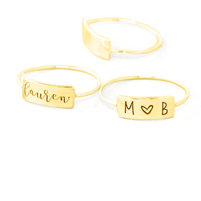 925 Sterling Silver Personalized Name Engraved Bar Ring Nameplated Ring - onlyone