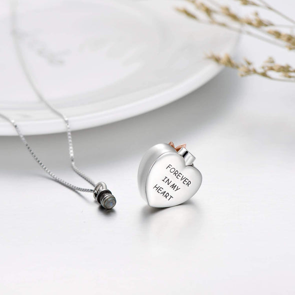 925 Sterling Silver Heart Crystal Cremation Ashes Urn Memorial Necklace