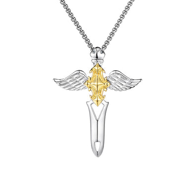 925 Sterling Silver Sword And Angel Wing Cross Necklace, Father's Day Gift - onlyone