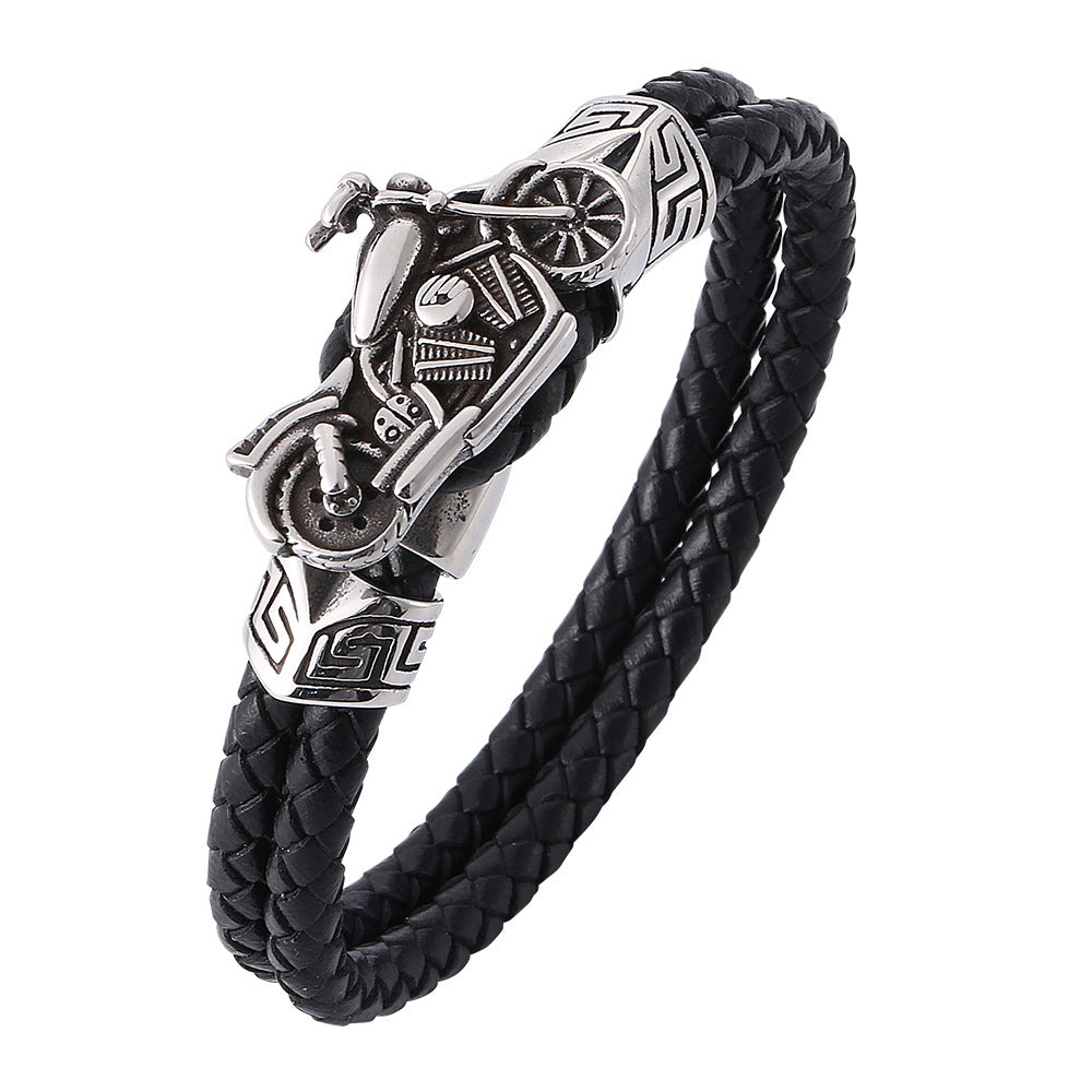 Mens Leather Bracelet With Stainless Steel Motorbike, Father's Day Bracelet - onlyone