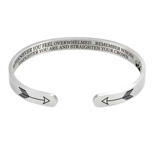 925 Sterling Silver Inspirational Cuff Whenever You Feel Overwhelmed, Remember Whose Daughter You Are and Straighten Your Crown