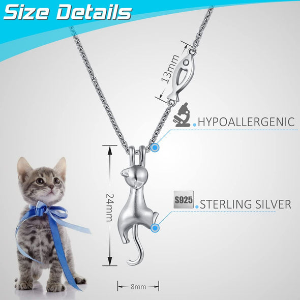 925 Sterling Silver Creative I Want Fish Cat Necklace Pendant Female Jewelry