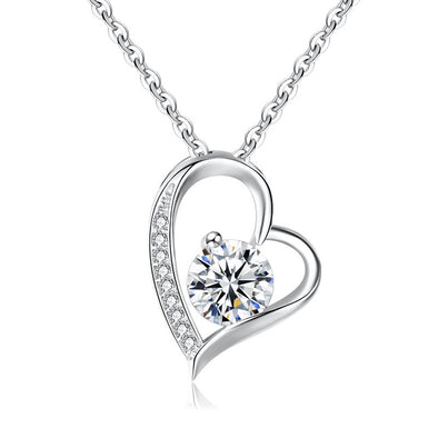 925 Sterling Silver Heart Necklace With Zirconia