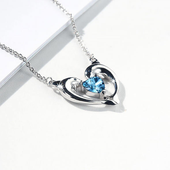 925 Sterling Silver Blue Crystal Dolphin Heart Necklace - onlyone