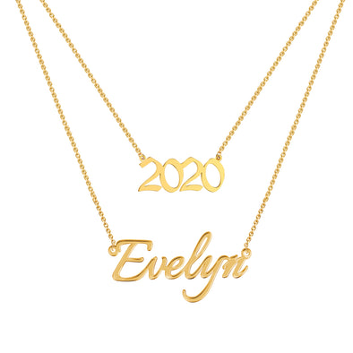 925 Sterling Silver Name And Year Double Layers Necklace - onlyone