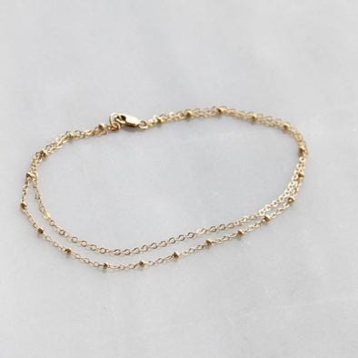 925 Sterling Silver Double Chain Anklet