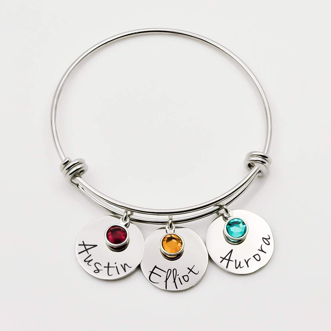925 Sterling Silver Personalized Name Bracelet With Birthstone