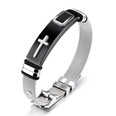 Men Punk Stainless Steel Cross Silicone Leather Bracelet Bangle Wristband Gift For Dad - onlyone