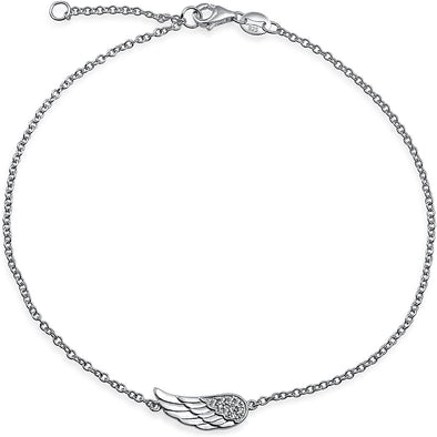 925 Sterling Silver Angel Wings Guardian Fashion Adjustable Anklets - onlyone