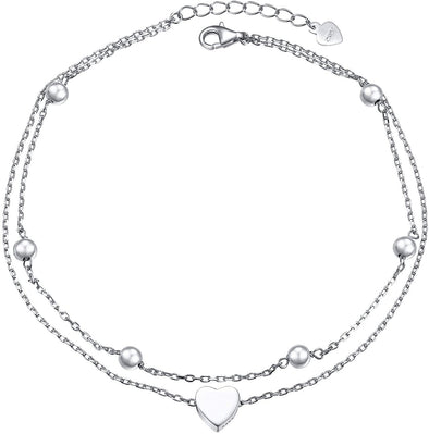 925 Sterling Silver Heart Double Layer Anklet Adjustable Anklet - onlyone