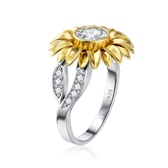 OnlyOne 925 Silver Golden Sunflower Ring with zirconia ring: Ⅲ - onlyone