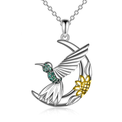 925 Sterling Silver Hummingbird on Moon with Sunflower Necklace