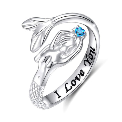 925 Sterling Silver Mermaid and Crescent Ring Adjustable Ring - onlyone