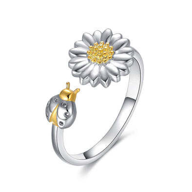 925 Silver Sterling Golden Sunflower And Ladybug Ring - onlyone