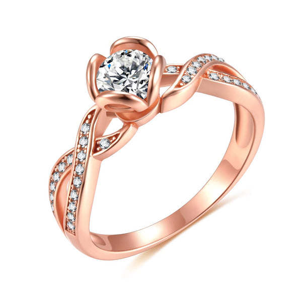 OnlyOne 925 Silver Rose Gold Spiral Style Design Ring Zirconia Ring - onlyone