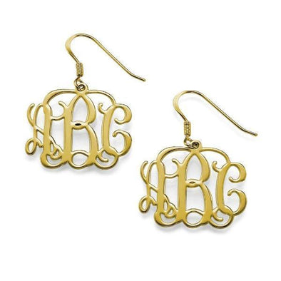 925 Sterling Silver Personalized Monogram Earrings - onlyone