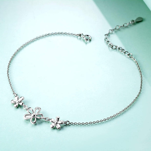 925 sterling silver daisy fashion women's anklet - onlyone