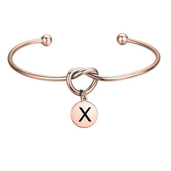 Personalized Initial Love Knot Engraved Cuff-Personalized Cuffs-YAFEINI-yafeini-personalized-custom-jewelry