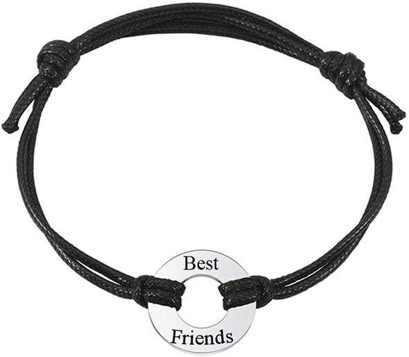 Personalized Free Engraving Custom Name Date Initial Adjustable Leather Bracelet With Circle Charm - onlyone