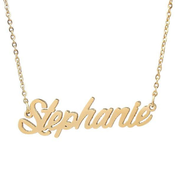 "925 Sterling Silver ""Stephanie"" Style Custom Name Necklace Nameplate Necklace - onlyone"