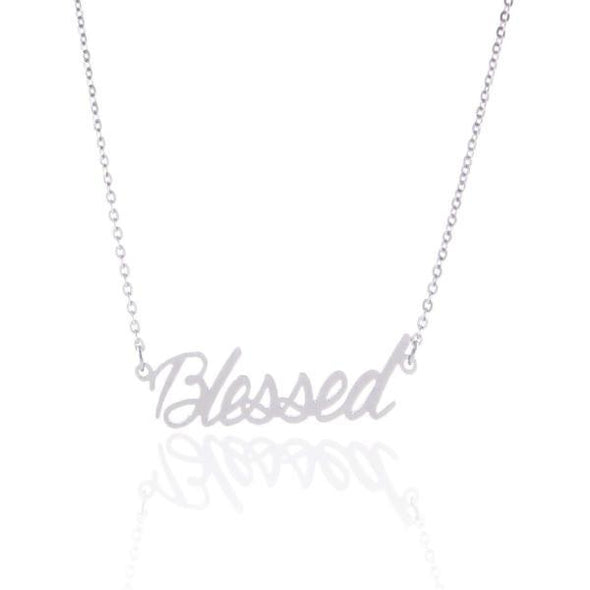 "925 Sterling Silver ""Blessed"" Style Custom Name Necklace Nameplate Necklace - onlyone"