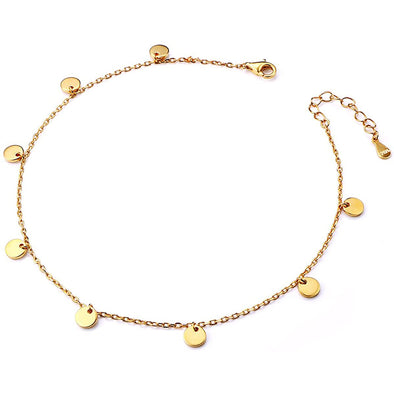 925 Sterling Silver Summer Style Disc Fashion Gold Adjustable Anklet - onlyone