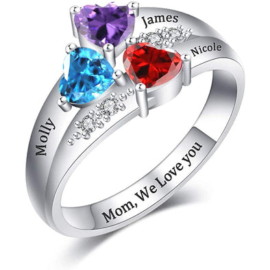 925 Sterling Silver Custom Engraved Name Mothers Ring with 3 Birthstones - onlyone