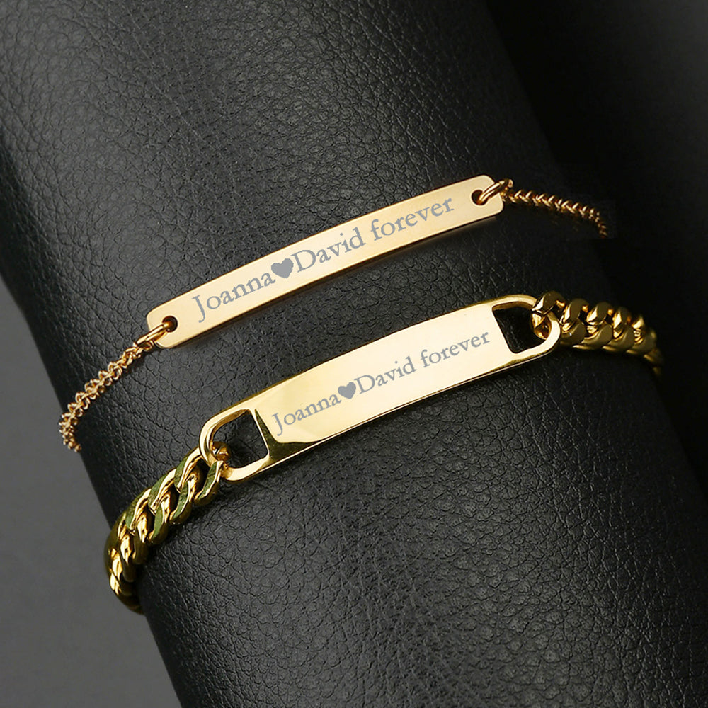 925 Sterling Silver Customized Engraving Nameplate Couple Bracelet Set - onlyone