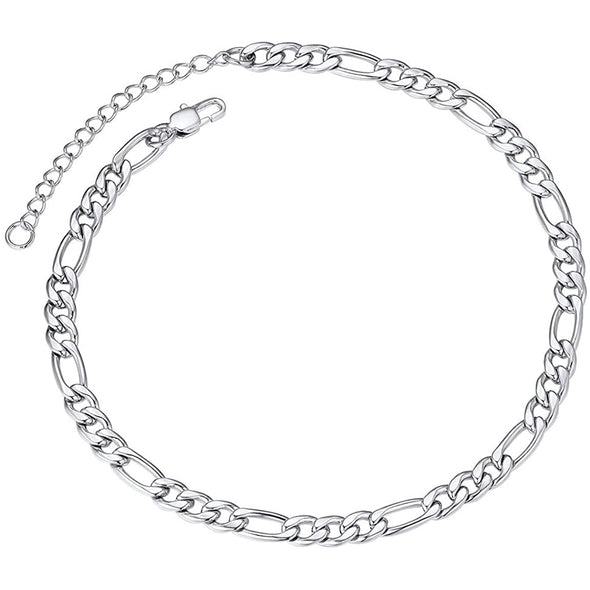 925 Sterling Silver Adjustable Figaro Chain Anklet - onlyone