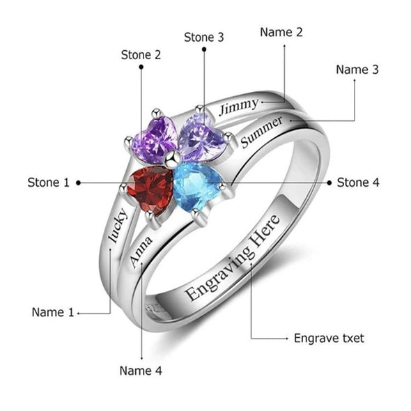925 Sterling Silver Custom Engraved Four Names Ring With Four Birthstones Personalized - onlyone