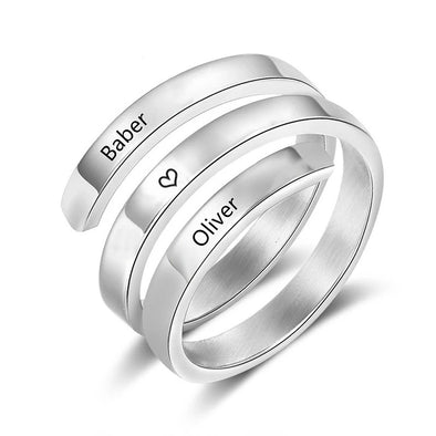925 Sterling Silver Custom Three Names Ring Family Ring - onlyone