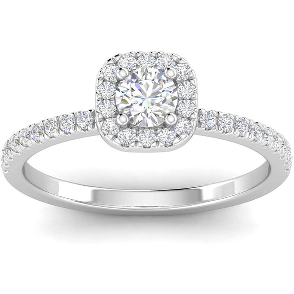 1/2ctw Diamond Halo Engagement Ring in 14k White Gold - onlyone