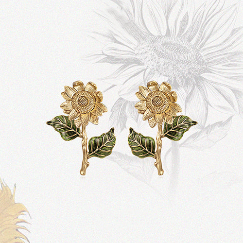 925 Sterling Silver Sunflower Stud Earrings - onlyone
