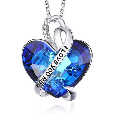 925 Sterling Silver I Love You Mom Infinite Love Heart Crystal Pendant Necklace