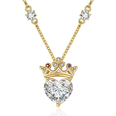 925 Sterling Silver Crown Heart Crystal Necklace With Birstone For Queen, Gift For Her
