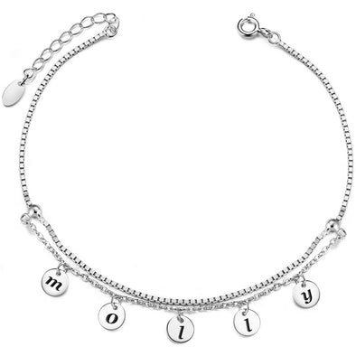 Split-level 925 sterling silver fashion anklet custom anklet - onlyone
