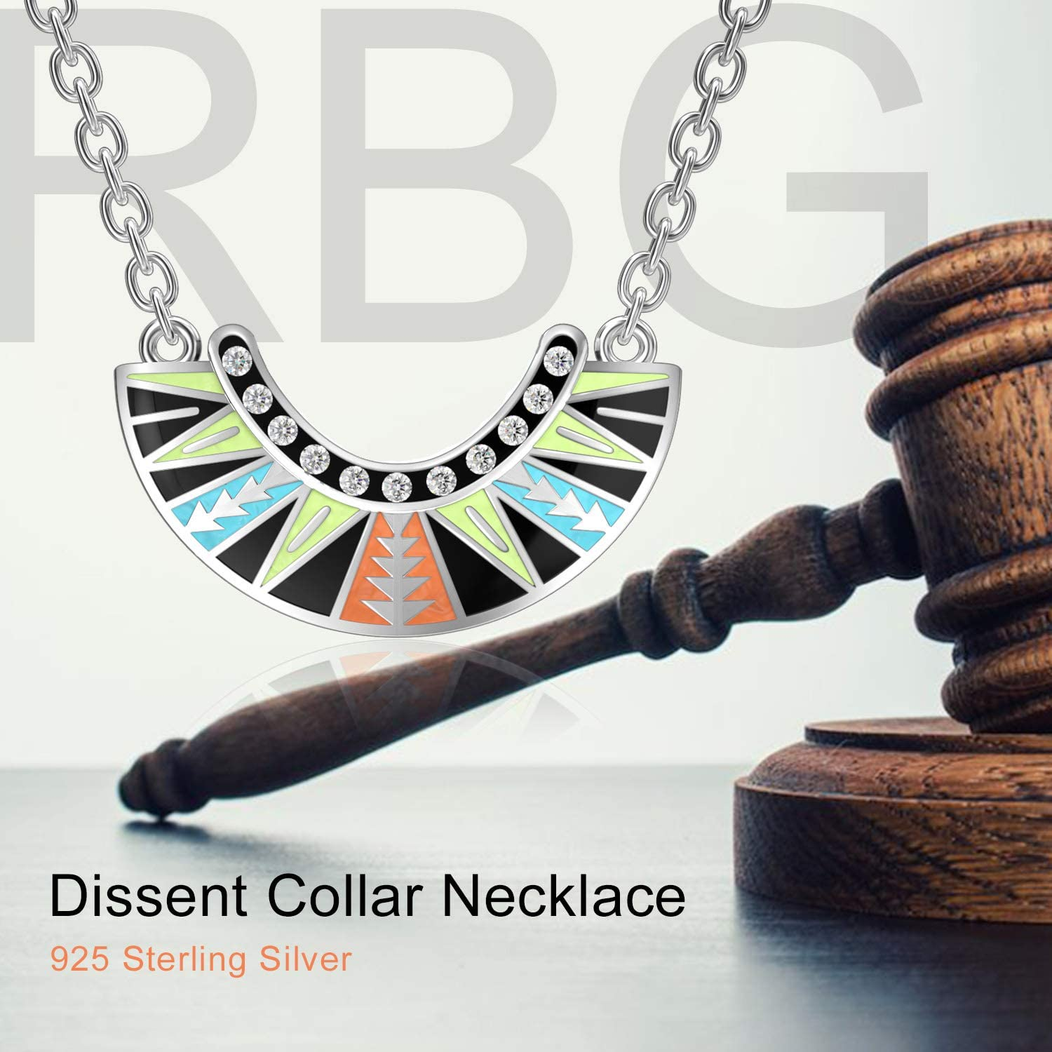 925 Sterling Silver Dissent Collar Pendant Necklace With Crystal