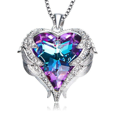 925 Sterling Silver Heart & Wings Necklace With Crystal - onlyone