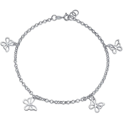 925 Sterling Silver Multi-sided Hollow Butterfly Anklet - onlyone