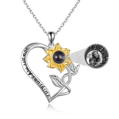925 Sterling Silver Personalized I Love You 100 Languages Sunflower Heart Necklace
