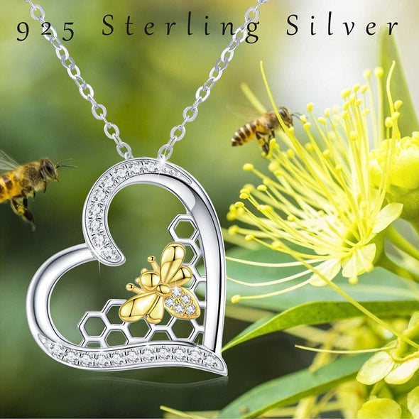 925 Sterling Silver Bee Heart Pendant Necklaces for Women Mother's Day Gifts for Her - onlyone