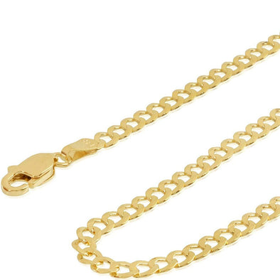 14K Mens Cuban Curb Chain Necklace Cuban Link Concave Curb Gold Chain Necklace - onlyone