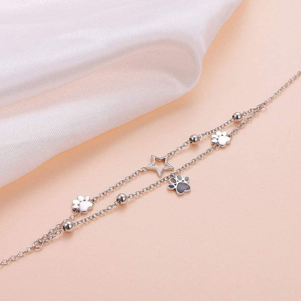 925 Sterling Silver cute bear paw style adjustable fashion anklet - onlyone