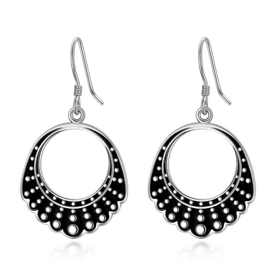925 Sterling Silver Dangle Drop Dissent Collar Earrings