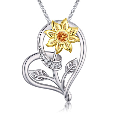 925 Sterling Silver Sunflower and Heart Pendant Necklace - onlyone