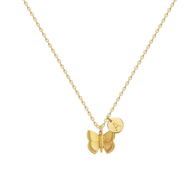 925 Silver Golden Plated Personalized Initial Butterfly Necklace - onlyone