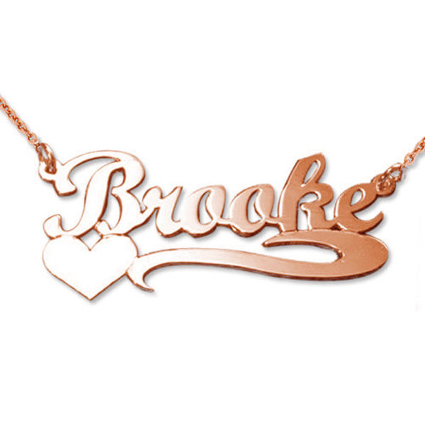 925 Sterling Silver Name Necklace With Heart Nameplate Necklace